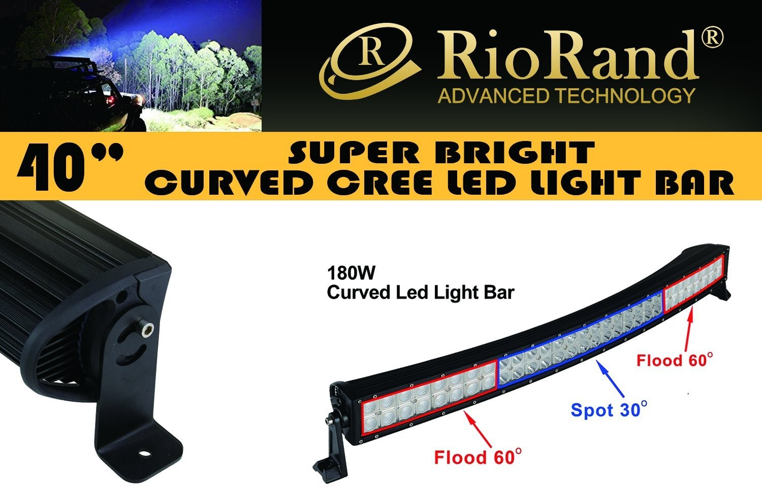 Riorand curved 30 180w gs lsc1802 cree led light bar spot flood zoom aloadofball Image collections