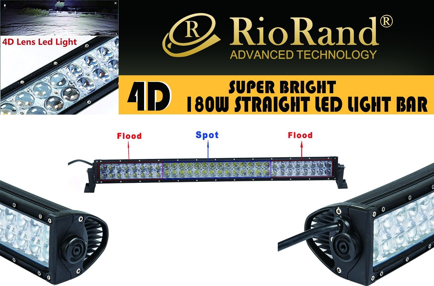 Riorand 180w 4d lens led light straight off road epistar led work zoom aloadofball Image collections