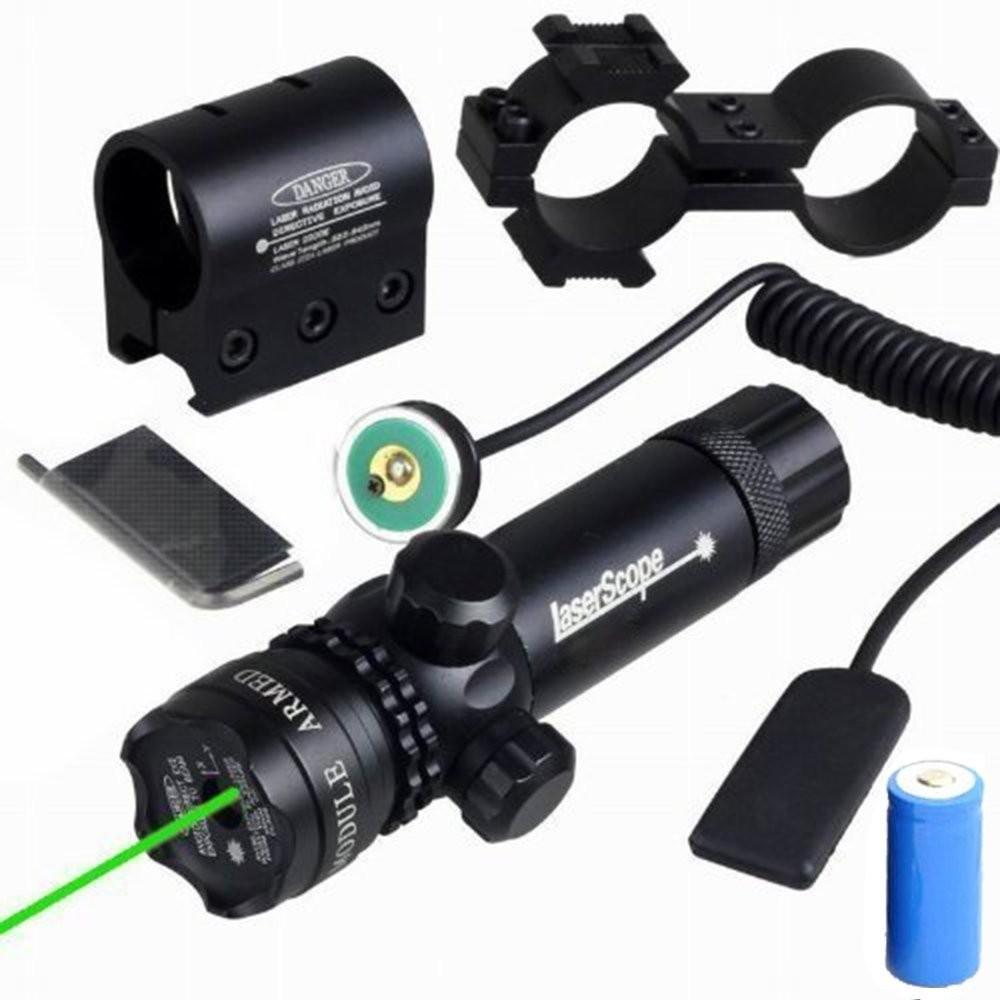 Swith+Picatinny Rail+Barrel Mounts Tactical Green Laser Sight Rifle Dot Scope