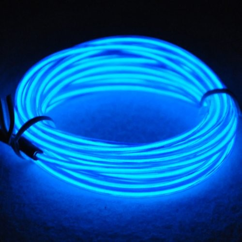 Zoom & RioRand 9ft 3m Blue Neon Glowing Strobing Electroluminescent Wire ...