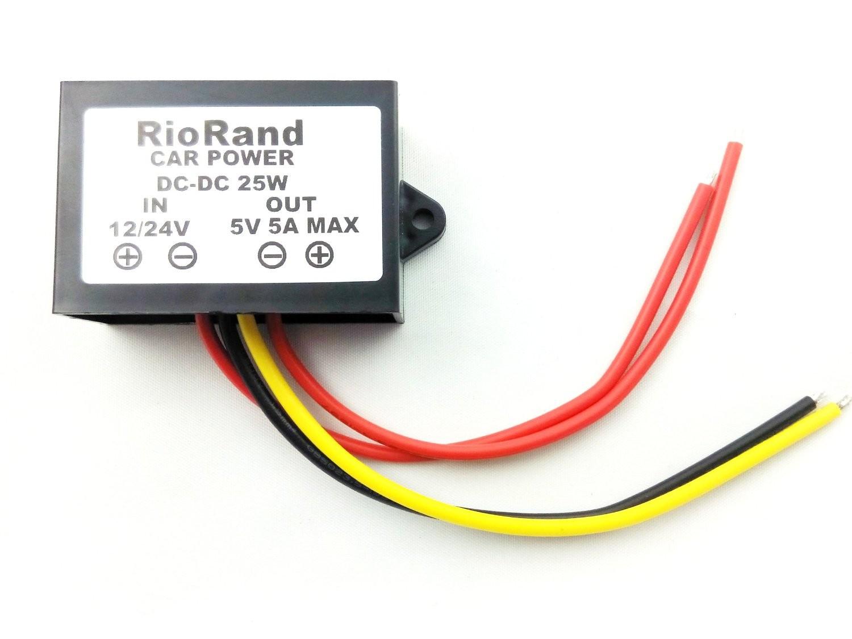 RioRand™ DC to DC Converter Inverter 12V/24V to 5V 5A 25W