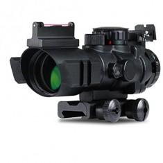 RioRand 4X32 Sight Prismatic Rifle Scope with Fiber Optic Sight Tri-illuminated Recticle