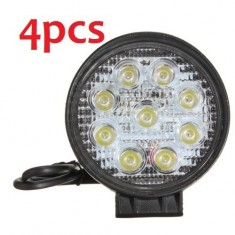 RioRand® 27W 9LED Round Work Spot Pencil Beam Lamp Offroad Light For truck 12/24V 4WD 4x4 (4 Pcs)