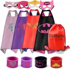 Dress Up Costumes Cartoon 4-Pack Satin Capes Set With Felt Masks,Slap Bracelets and Exclusive Bag for Girls