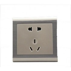 RioRand® Wall Mount 5-Pin Power Socket Outlet Sliver 2PCS