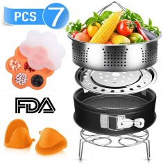 RioRand Compatible with Instant Pot Accessories Set 7Pcs with Steamer Basket,Egg Rack,Egg Bites Mold,Non-Stick Springform Pan,Silicone Mitts Perfect Fit 5qt/6qt/8qt Pressure Cooker