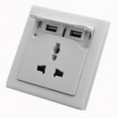 RioRand® Universal Dual-USB + UK Plug Wall Mount Socket PCS- Light Grey