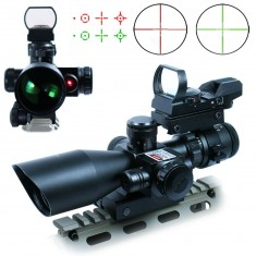 RioRand 3 in 1 2.5-10x40 Tactical Rifle Scope Dual illuminated Mil-dot with Red Laser w/ Rail Mount +Tactical 4 Reticle Red and Green Dot Open Reflex Sight with Weaver-Picatinny Rail Mount for 11 mm Rails+Scope Barrel Mount