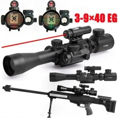 RioRand Tactical 3-9x40mm Illuminated Rifle Scope with Red beam & Red Dot Sight of Red / Green Reticle Mount