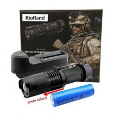 RioRand 3mode(high ,Low ,Strobe)black Color 7w 500lm Mini Cree Q5 Led Flashlight with Adjustable Focus Lamp Super Bright Waterproof Zoomable Cree LED Flashlight Lamp Torch Nice Package Kit