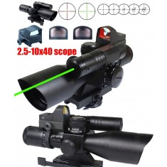 RioRand 3-in-1combo Set 2.5-10x40 Scope with Green Laser+ Red Dot Reflex Sight
