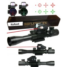 RioRand 3 in 1 Combo 3-9x40 Tactical Rifle Scope + Red Green 4 Reticle Holographic Sight & Red Laser with pressure switch