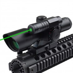 RioRand 2-in-1 Sideswipe 2.5-10x 40 Dual Illuminated Scope with Quick Relese with Green Laser Sight