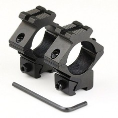 "RioRand 2pcs 25.4mm 1"" Low Profile Scope Rings 11mm Dovetail Rail Mount + 21mm Side Rail Tweet"