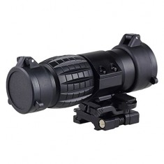 RioRand Tactical Monocular 3X Magnifier Scope Sight with Flip To Side QD Mount for 20mm Rail Sniper Rifle Hunting
