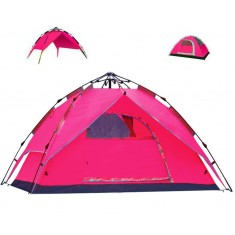 RioRand 3 In 1 Automatic Outdoor Tent 2-3 Person Model Tent for Camping Hiking(Fiberglass poles Red)