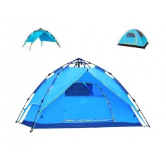 RioRand 3 In 1 Automatic Outdoor Tent 2-3 Person Model Tent for Camping Hiking(Fiberglass poles Sky Blue)