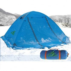RioRand Double Layer 2 Person 4 Season Aluminum Rod Outdoor Camping Tent Topwind 2 Plus with Snow Skirt ( BLUE)