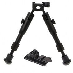 RioRand 7-8 inches Adjustable Tactical Bipod Tactical Bipod (Picatinny Mount or Swivel Stud Mount) (Best Hunting Bipod) Panning For Shooting Airsoft Rifle Gun Sniper, Rubber Stand
