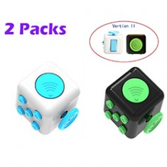 RioRand  2 Pack Stress Cube Anxiety Relief Dice Fidgeters Toy Version II, Black/Green/White/Blue