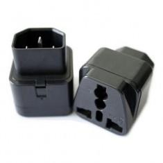 RioRand® WD-320 Universal 3-Flat-pin Plug Power Adapter / Socket - Black 2PCS