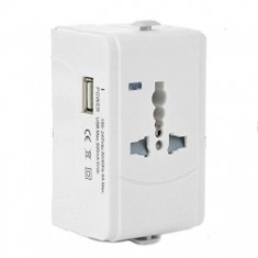 RioRand® Universal Travel Power Plug Adapter with USB Port - White (US / EU / UK / AUS)