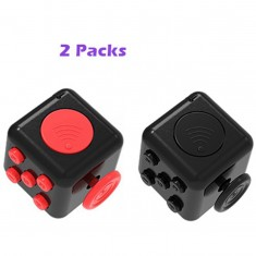 RioRand 2 Pack Stress Relief Cube-Dice Fidgeters Toy Version II, Black/Red