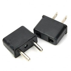 RioRand® 2-Flat-Pin Plug Power Adapter + EU Plug Power Adapter Set - Black (2pairs 125~250V)