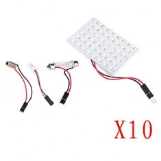 RioRand White 48SMD 48-SMD LED Panel Dome Light Lamp with T10 BA9S Festoon Adapter (10PCS)
