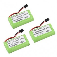 RioRand 3-Pack Replacement Home Cordless Phone Battery (2.4V/1400mah) for Uniden BT1007