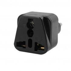 RioRand® Universal 3-Flat-pin Plug Power Adapter / Socket - Black 4PCS (AC 250V)