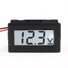 RioRand® 2-Wrie Digital Voltage Measuring Panel Meter 3.5-30V Motor Car Vehicles Testing Voltmeter LCD Display (White)
