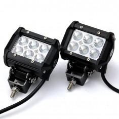 "RioRand 4"" 18W 6 CREE LED SUV Off-road Boat Headlight Spot Driving Fog Light + Mounting Bracket(2pcs 4"" 18W)"
