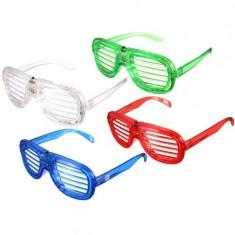 RioRand Flashing Blinking LED Light Up Slotted Shutter Shades Glow Sunglasses - Assorted Flashing Lights (6pcs)
