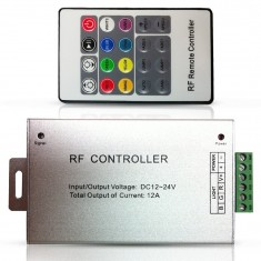 RioRand® 12V Heavy-duty Aluminum RGB Controller with RF 20key remote for RGB mutil-color LED Strip light (3 channels, 4A/channel)