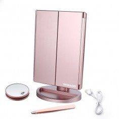 RioRand Lighted Makeup Mirror 21 LED Illuminated Tri-Fold Mirror with Touch Screen Tabletop Makeup Mirror 1X/2X/3X/10X for Valentines Gifts (Rose Gold)