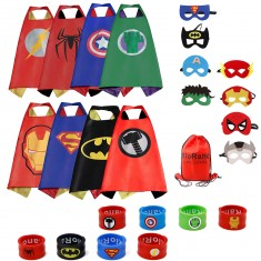 RioRand Dress Up Costumes Cartoon Satin Capes Set with Felt Mask ,Slap Bracelets and Exclusive Bag for Kids Boys (8pcs)