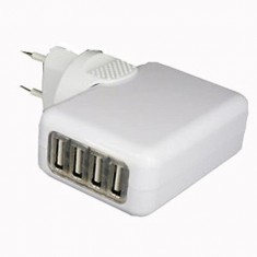 RioRand® Universal Travel USB/AC Powered 4-Port Hub with EU Plug - White (2-Round-Pin Plug)