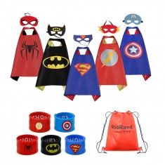 RioRand 5pcs Pretend Dress Up Capes and Masks, 5pcs Wristbands with 1 Carrying bag