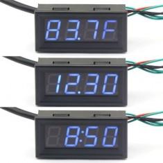 "RioRand 18B20 Probe Fahrenheit Scale 0.56"" Digital Voltage Temp Gauge Car Clock 3in1 12 Volt Temperature Meter Blue LED"