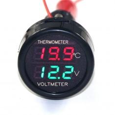 RioRand Cigarette Lighter Plug Digital LED Voltmeter Thermometer 2in1 12V/24V Voltage Temperature Measurement (Red+Green)
