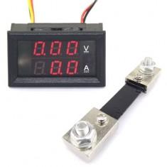 RioRand DC 0-100V/100A VA 2in1 Red LED Gauge Amp Volt Ammeter With Shunt Resistance
