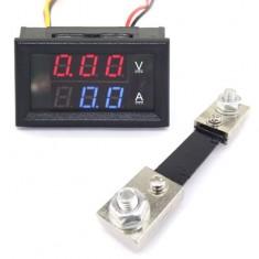 RioRand Digital Ammeters Volt 0-100V/A DC Voltage Amperemeter Red/Blue Dual LED Display