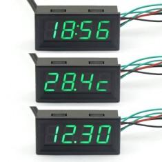 RioRand Green LED Digital Gauges Automotive Monitor 12 V Car Colck Panel Voltmeter Thermometer 3in1
