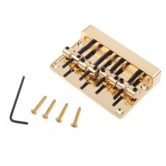 RioRand Replacement Vintage Four String Barrel Saddle Electric Bass Bridge Top Loaded Wide String Spacing 20mm(Gold)