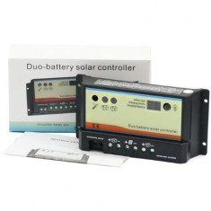 RioRand™ 10A Duo Battery Solar Panel Charge Controller Regulator 12/24V for dual battery