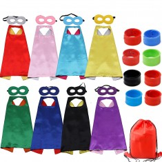 RioRand Kids Cartoon Dress Up Costumes Double-Sided Satin Capes with Felt Masks and Slap Bracelets 8pcs