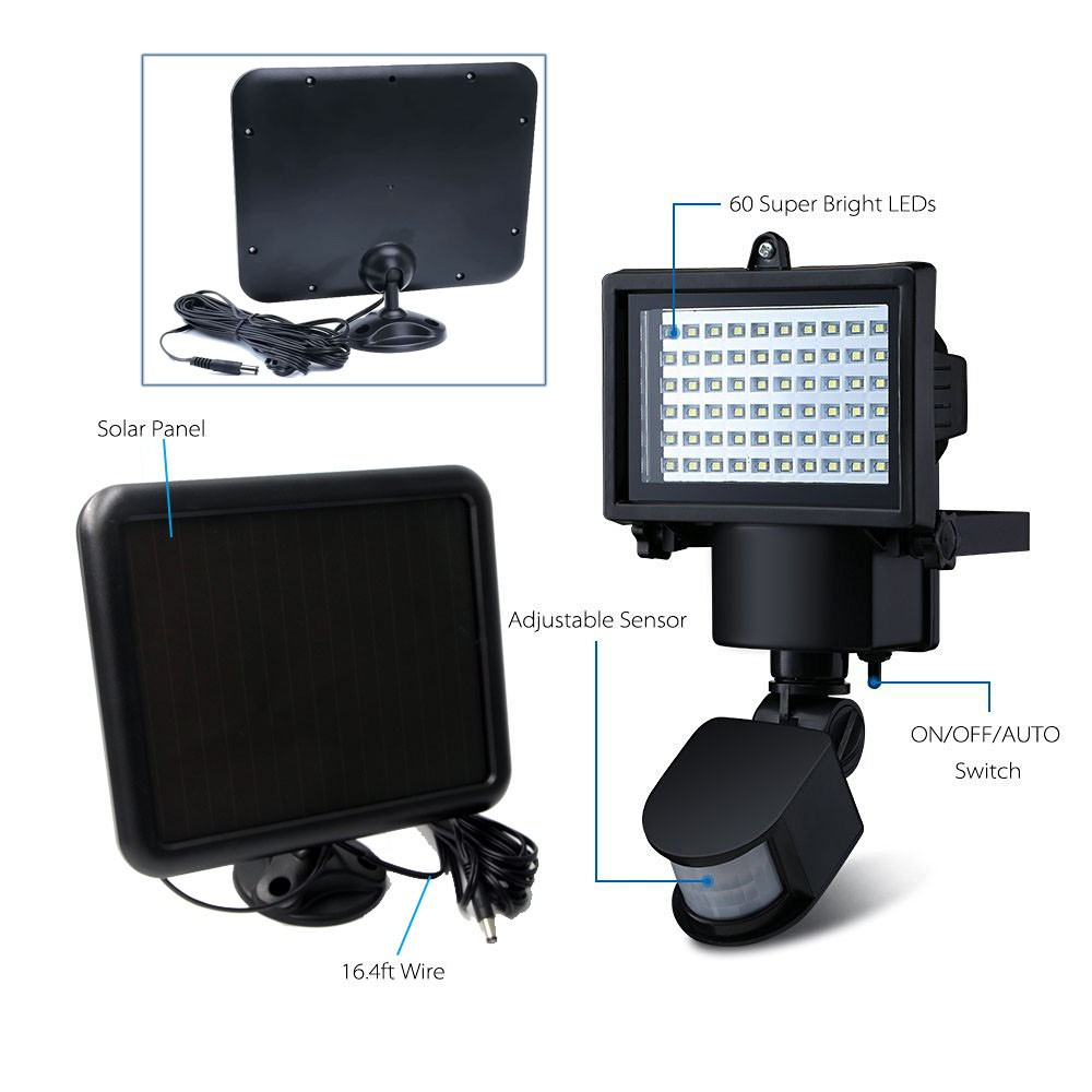 RioRand® 60 LED Solar Motion Light Flood Lights Security Lighting ...