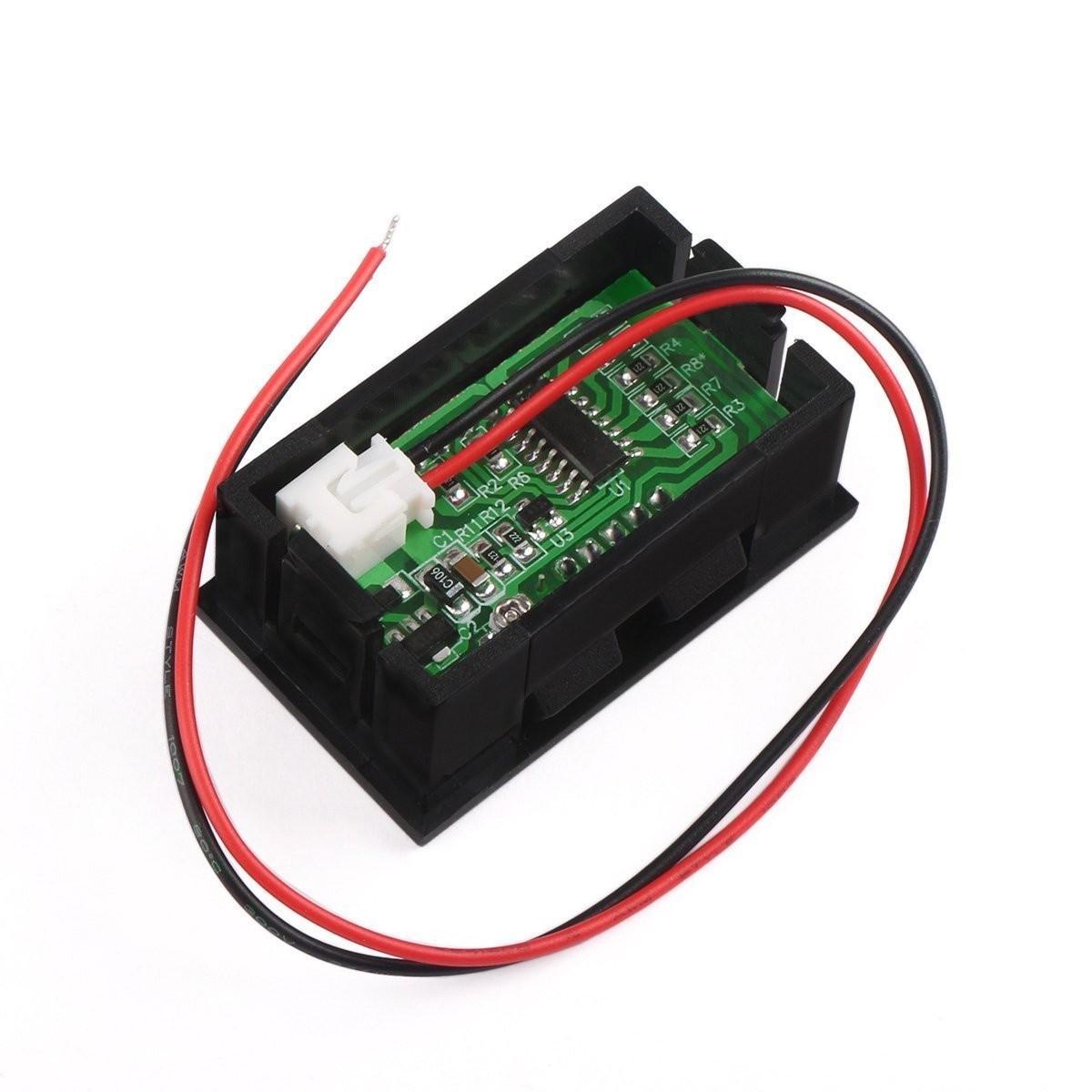 Riorand 2 Wires Digital Voltmeter Dc Volt Tester 12v 24v Battery Motorcycle Monitor Lightbox Moreview