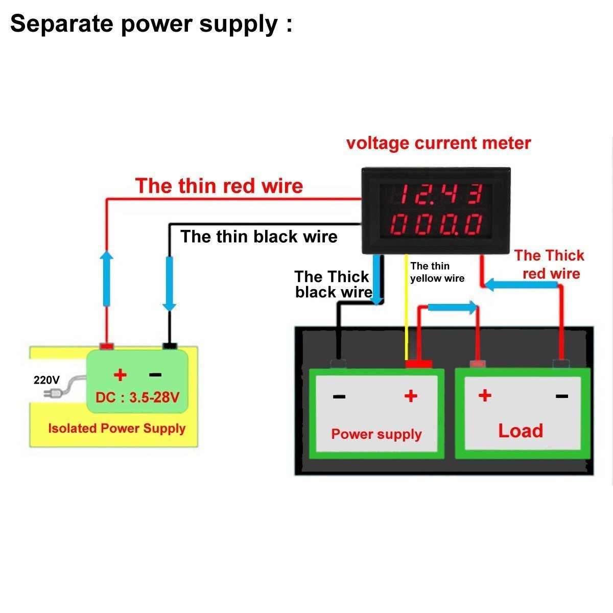 Riorand 026 Dc 0 33v 12v 3a Digital Car Volt Ampere Watt Temp 3 Wire 220v Diagram At Panel Lightbox Moreview